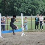 Eine Reiterin springt ohne Pferd über ein Hindernis.