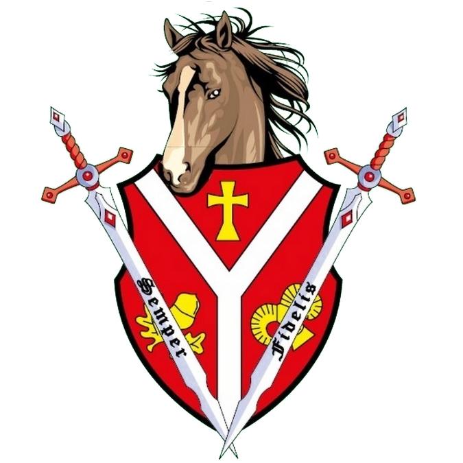 Logo in Form eines Wappens mit Pferdekopf.