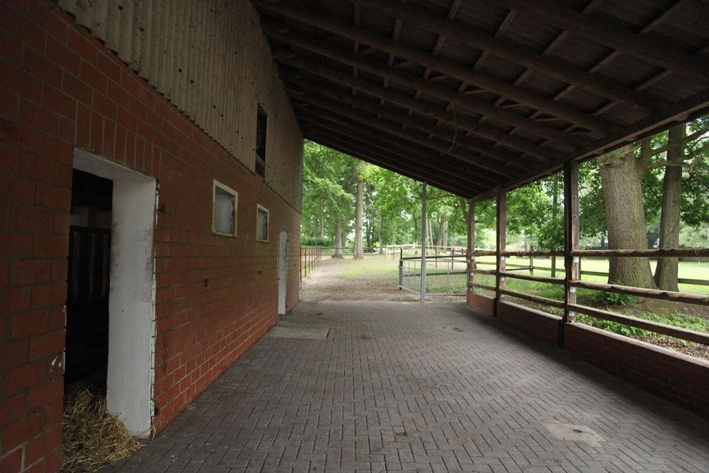 Ein gepflasterter und überdachter Außenbereich an einem Offenstall.