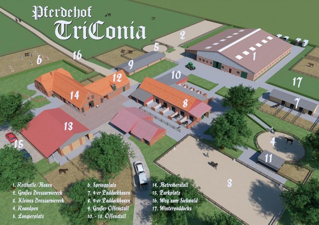 Bildliche Darstellung der Lage der Gebäude auf dem Pferdehof TriConia.