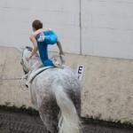 Eine Frau turnt auf einem galoppierenden Pferd.
